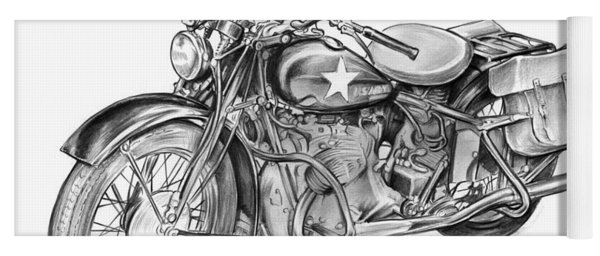 Ww2 Military Motorcycle Yoga Mat