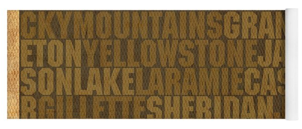 Wyoming Word Art State Map On Canvas Yoga Mat