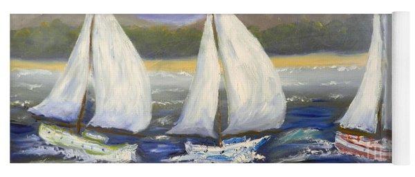 Yachts Sailing Off The Coast Yoga Mat