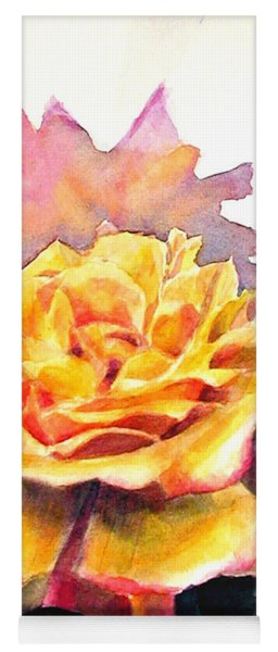 Yellow Rose Fringed In Red Yoga Mat