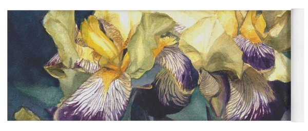 Watercolor Of A Tall Bearded Iris Painted In Yellow With Purple Veins Yoga Mat
