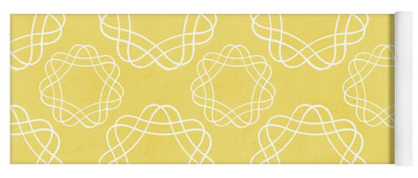 Yellow And White Geometric Floral  Yoga Mat