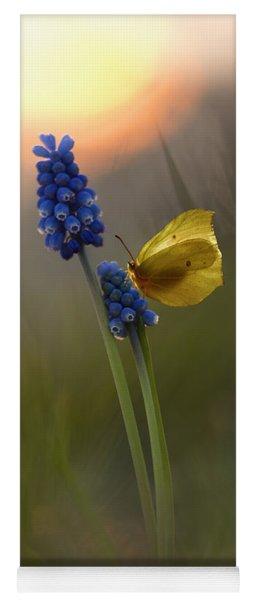 Yellow Butterfly On Grape Hyacinths Yoga Mat