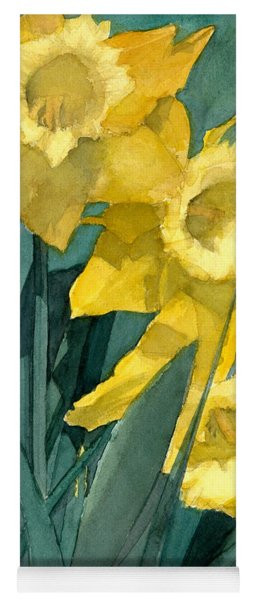 Watercolor Painting Of Blooming Yellow Daffodils Yoga Mat
