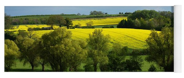 Yellow Fields In The Sun Yoga Mat
