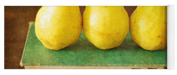 Yellow Pears And Vintage Green Book Still Life Yoga Mat