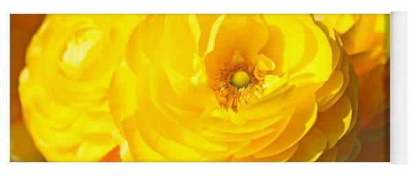 Yellow Peonies Yoga Mat
