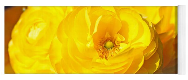 Yellow Peonies Yoga Mat