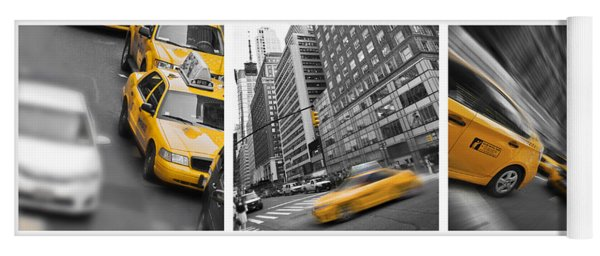 Yellow Taxis Collage Yoga Mat