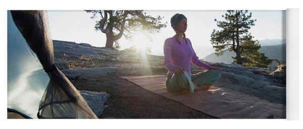 Yoga Outside Tent At Sunrise Yoga Mat