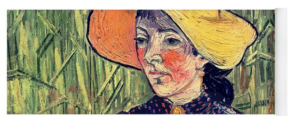 Young Peasant Girl In A Straw Hat Sitting In Front Of A Wheatfield Yoga Mat