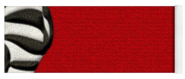 Zebra Furry Bottom On Red Yoga Mat