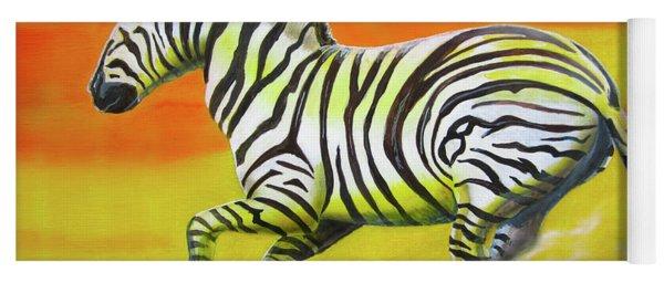Zebra Kicking Up Dust Yoga Mat