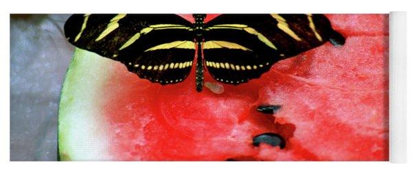 Zebra Longwing Butterfly On Watermelon Slice Yoga Mat