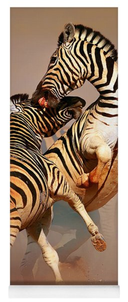 Zebras Fighting Yoga Mat