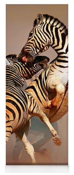 Zebras Fighting Yoga Mat