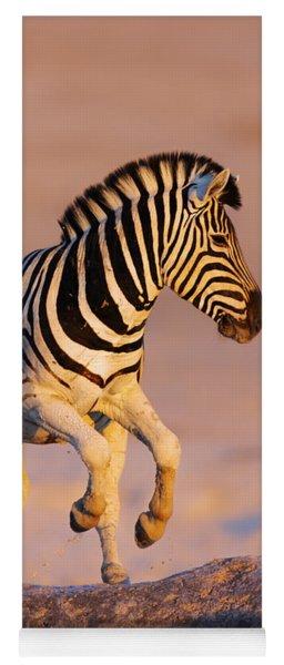 Zebras Jump From Waterhole Yoga Mat