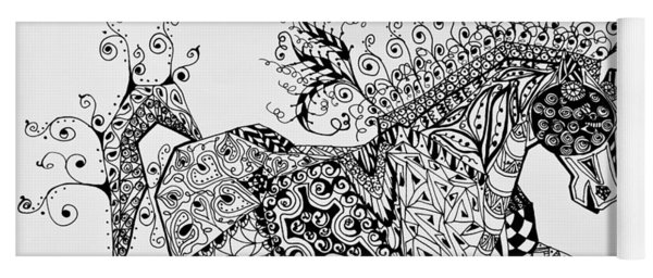 Zentangle Circus Horse Yoga Mat