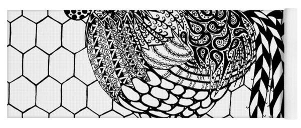 Zentangle Rooster Yoga Mat