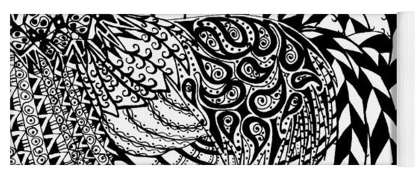 Zentangle Rooster Yoga Mat