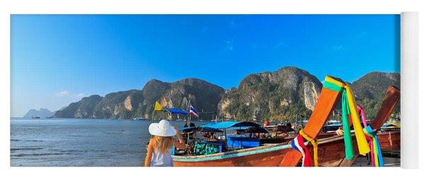 Boats At Phi Phi Island Yoga Mat