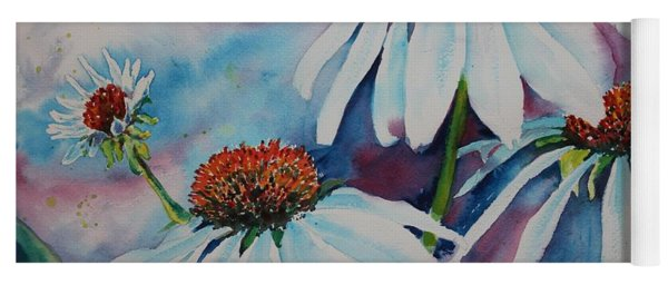 Yoga Mat featuring the painting Coneflower by Ruth Kamenev