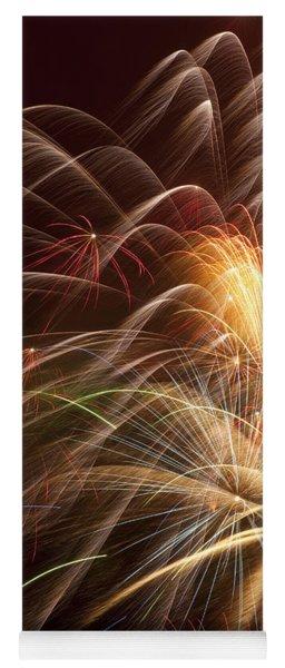 Fireworks In Night Sky Yoga Mat