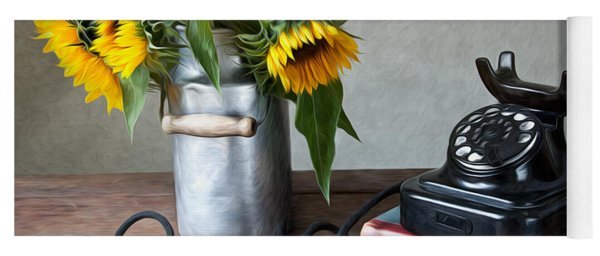 Sunflowers And Phone Yoga Mat