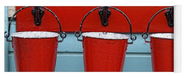 Three Red Buckets Yoga Mat