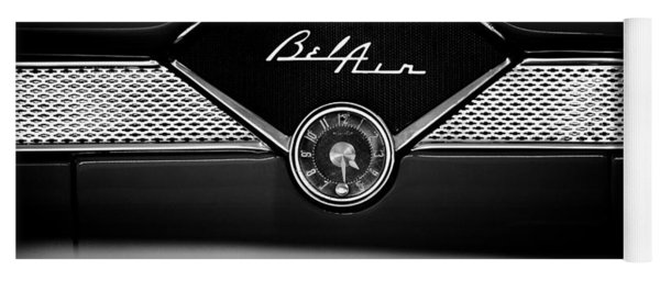 1955 Chevy Bel Air Glow Compartment In Black And White Yoga Mat