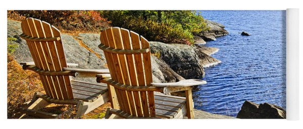 Adirondack Chairs At Lake Shore Yoga Mat