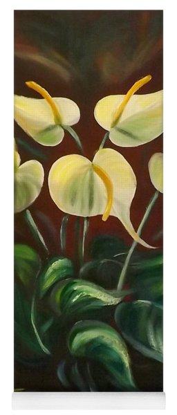 White Flowers Yoga Mat