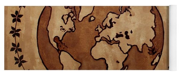 Abstract World Globe Map Coffee Painting Yoga Mat