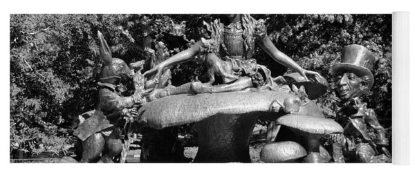 Alice In Wonderland In Central Park In Black And White Yoga Mat