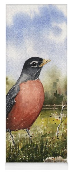 Yoga Mat featuring the painting American Robin by Sam Sidders