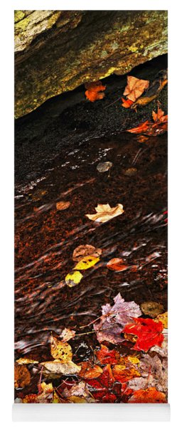 Autumn Leaves In River Yoga Mat