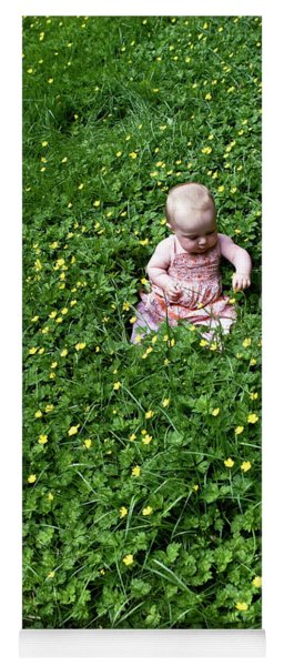 Baby In A Field Of Flowers Yoga Mat