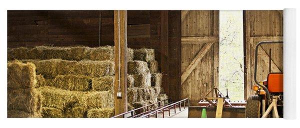 Barn With Hay Bales And Farm Equipment Yoga Mat