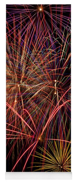 Bright Colorful Fireworks Yoga Mat