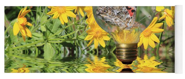 Yoga Mat featuring the photograph Butterfly In A Bulb II - Landscape by Shane Bechler