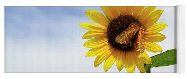 Yoga Mat featuring the photograph Butterfly On A Sunflower by Shane Bechler