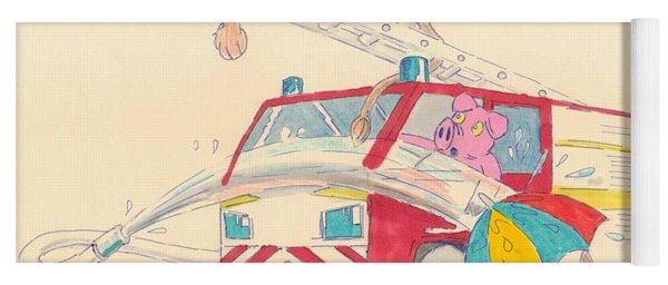 Cartoon Fire Engine And Animals Yoga Mat