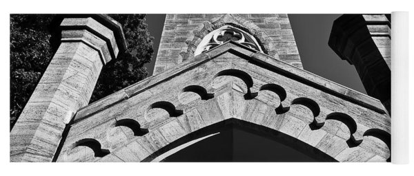 Church Facade In Black And White Yoga Mat