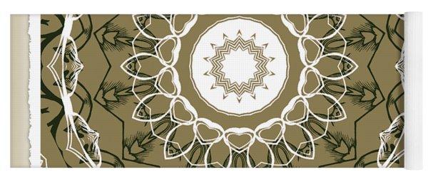 Coffee Flowers 1 Olive Medallion Scrapbook Yoga Mat