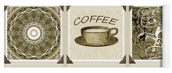 Coffee Flowers 1 Olive Scrapbook Triptych Yoga Mat
