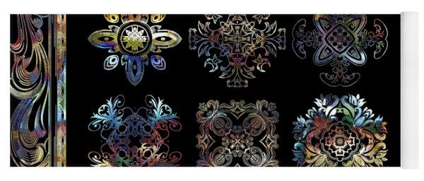 Coffee Flowers Ornate Medallions 6 Piece Collage Aurora Borealis Yoga Mat