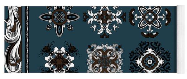 Coffee Flowers Ornate Medallions 6 Piece Collage Mediterranean Yoga Mat