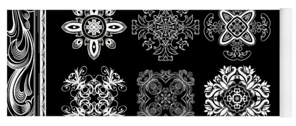Coffee Flowers Ornate Medallions Bw 6 Piece Collage Framed  Yoga Mat