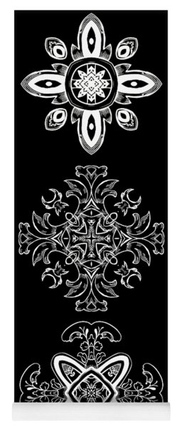 Coffee Flowers Ornate Medallions Bw Vertical Tryptych 1 Yoga Mat