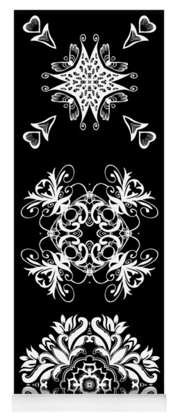 Coffee Flowers Ornate Medallions Bw Vertical Tryptych 2 Yoga Mat